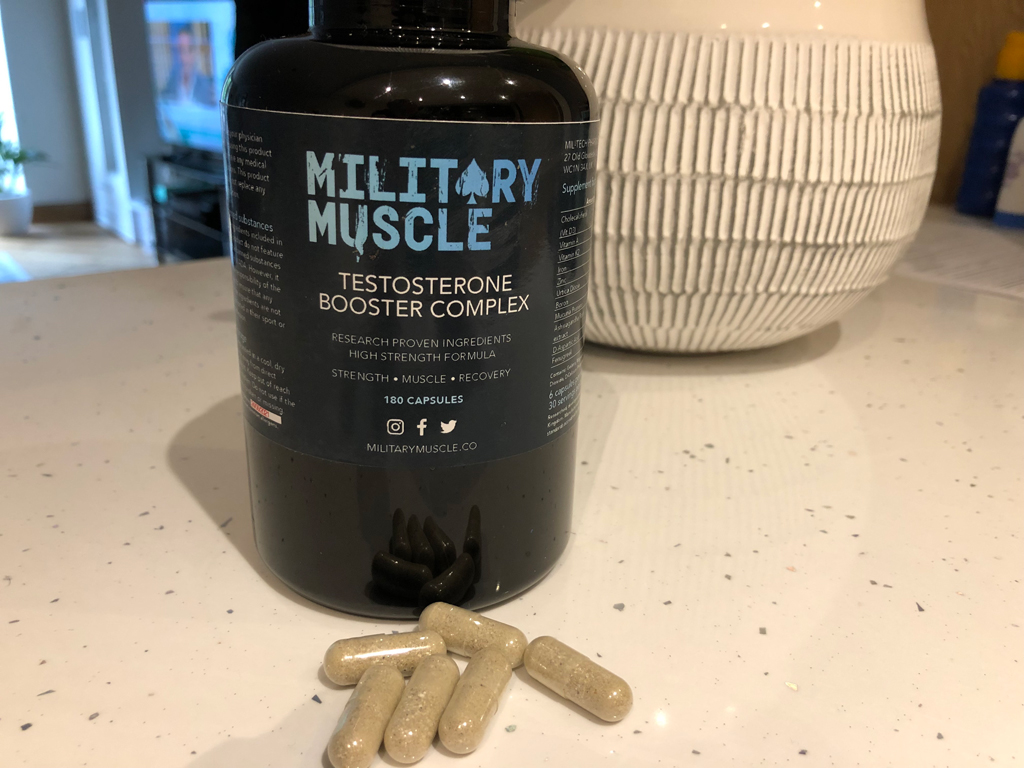 military muscle bottle and pills